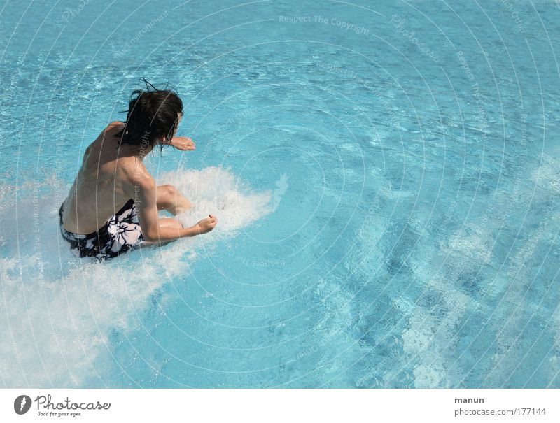 Human being Youth (Young adults) Blue Water Vacation & Travel Summer Joy Life Infancy Contentment Fresh Speed Happiness Cool (slang) Swimming pool Young man
