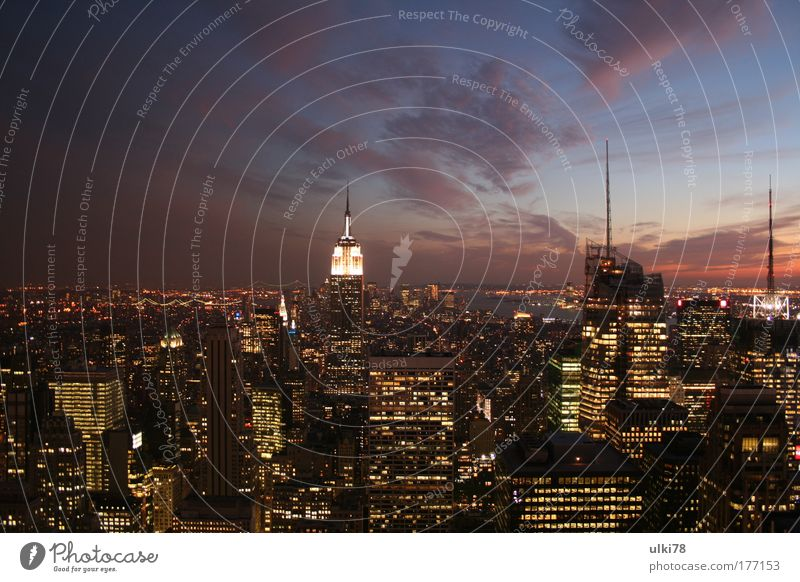 new york Colour photo Multicoloured Exterior shot Evening Twilight Long exposure Bird's-eye view Panorama (View) New York City USA united states of america