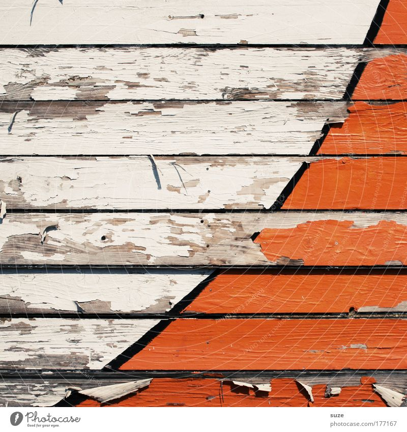 half pipe Style Design Architecture Wall (barrier) Wall (building) Facade Fence Wooden board Sign Line Stripe Old Simple Broken Dry Orange White Decline