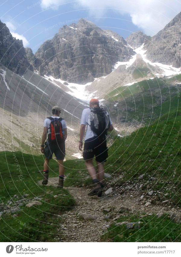 Ascent to the Mindelheimer Hütte Mountain Hiking Alps Fitness Going To enjoy Allgäu Bavaria Go up hike mountains Mountaineer hikers Vacation & Travel