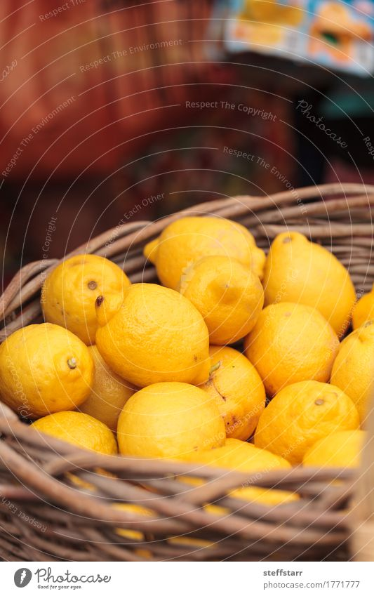 Fresh yellow lemons in a fruit basket Food Fruit Nutrition Eating Healthy Healthy Eating Wellness Life Plant Tree Yellow Gold Lemon Farmers market Agriculture