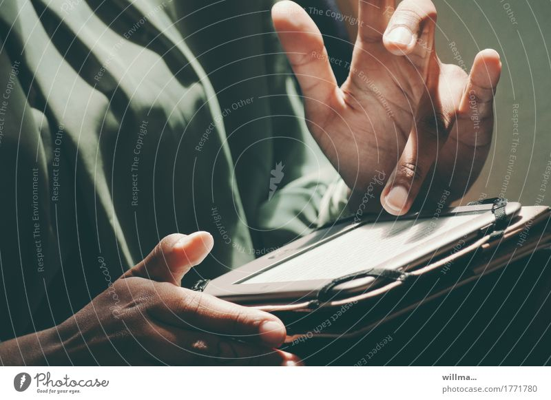 Hands with e-book or tablet hands Fingers Information E-Book eBook ebook reader Reading Study Tablet computer Education Adult Education Academic studies
