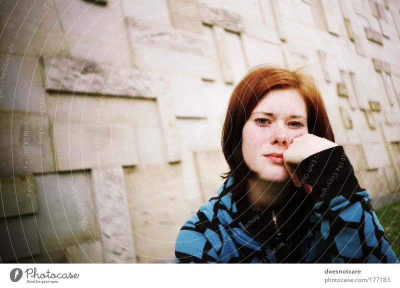 Woman Human being Youth (Young adults) Blue Loneliness Adults Portrait photograph Feminine Wall (building) Facade Wait Meditative 18 - 30 years Lomography