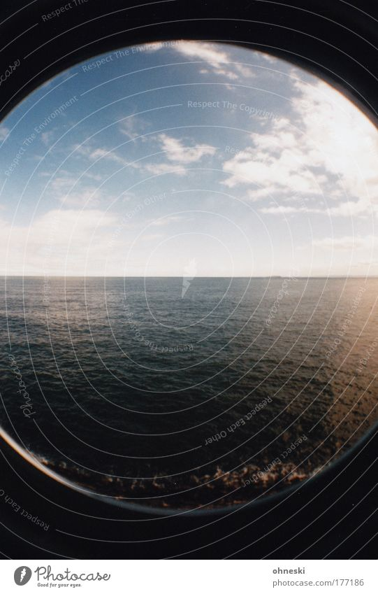 sea view Colour photo Exterior shot Lomography Deserted Day Light Shadow Sunlight Panorama (View) Wide angle Fisheye Vacation & Travel Tourism Trip