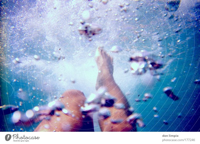 bon aqua Underwater photo Day Blur Shallow depth of field Whirlpool Swimming & Bathing Ocean Aquatics Sportsperson Swimming pool Legs Feet 1 Human being Dive