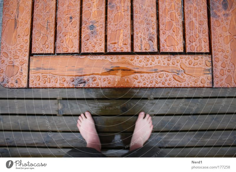 table foot Feet Table Rain Water Drops of water Wood Shadow Above Bird's-eye view Partially visible Section of image Detail Barefoot Tabletop Wooden table