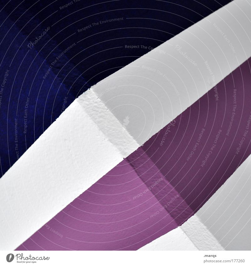 SIMPLE Colour photo Abstract Pattern Design Architecture Concrete Line Stripe Sharp-edged Simple Success Blue Violet White Illustration Structures and shapes
