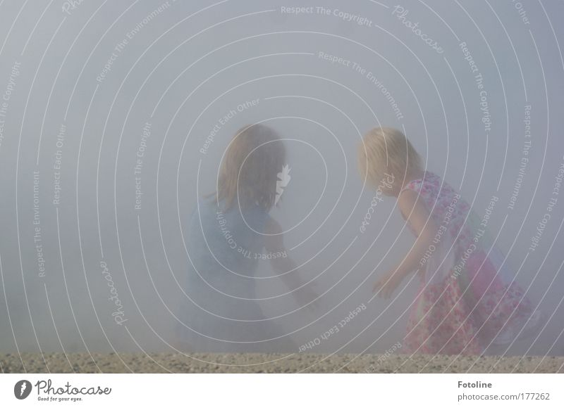 game of hide-and-seek Colour photo Exterior shot Copy Space left Copy Space top Day Human being Child Girl Brothers and sisters Infancy Hair and hairstyles Back