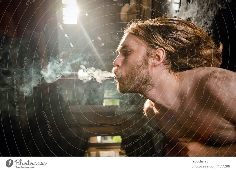 Human being Man Youth (Young adults) Adults Dark Hair and hairstyles Dream Masculine Exceptional Authentic 18 - 30 years Uniqueness Smoking Young man Facial hair Decline