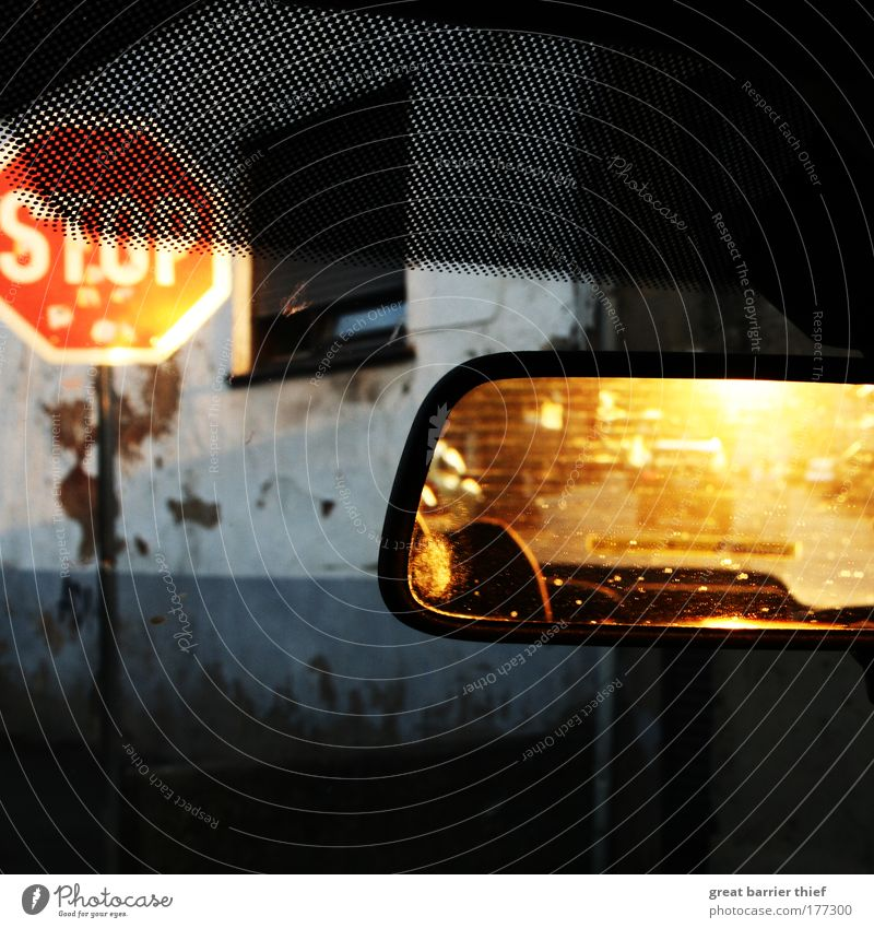 Music Window Car Wet Facade Driving Mirror Village Thunder and lightning Beautiful weather Vehicle Road sign Road sign Motor vehicle Stop sign