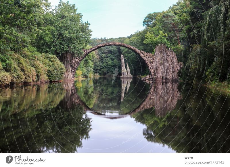 The Devil's Bridge Water Park Pond Lake Exceptional Sharp-edged Bad Muskau Basalt basalt bridge basalt stone Arch Geography Body of water Kromlau Rakotzbrücke