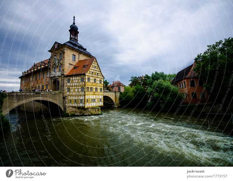 City hall of Bamberg Sightseeing City trip World heritage Baroque Sky Clouds River Regnitz river Downtown Bridge Half-timbered house Facade Tourist Attraction