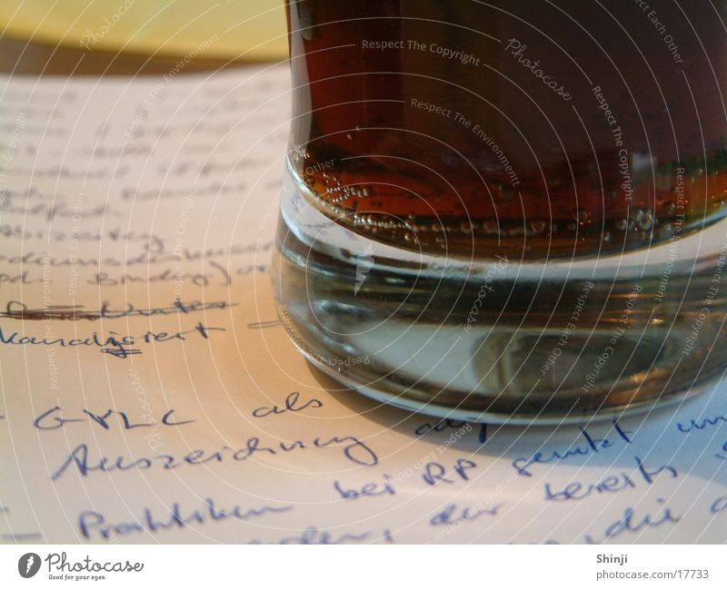 Glass Paper Beverage Blow Piece of paper Refreshment Lemonade Mineral water Cola Medal Handwriting