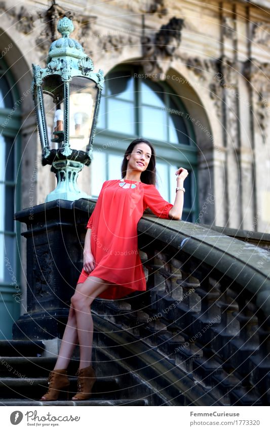 Human being Woman Youth (Young adults) Beautiful Young woman Red 18 - 30 years Adults Lifestyle Feminine Style Happy Lamp Fashion Stairs Elegant