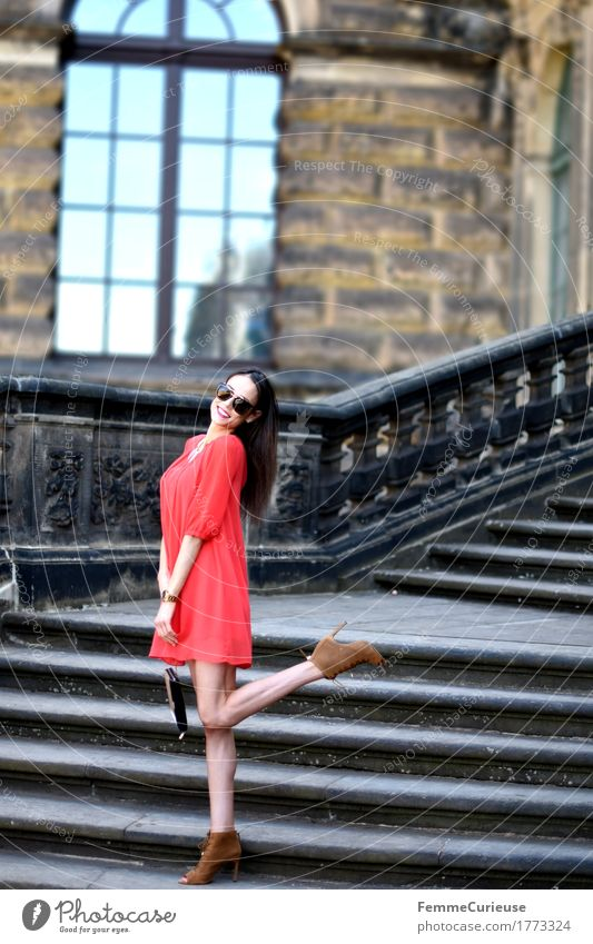 Human being Woman Youth (Young adults) Beautiful Young woman Red Joy 18 - 30 years Adults Lifestyle Feminine Style Legs Happy Fashion Stairs