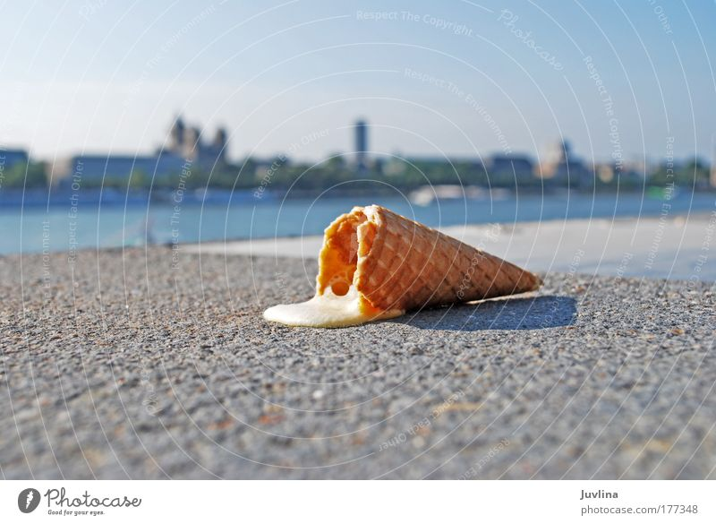 The summer isn't over yet... Colour photo Exterior shot Copy Space left Copy Space bottom Light Shadow Contrast Back-light Blur Food Ice-cream cone Ice cream