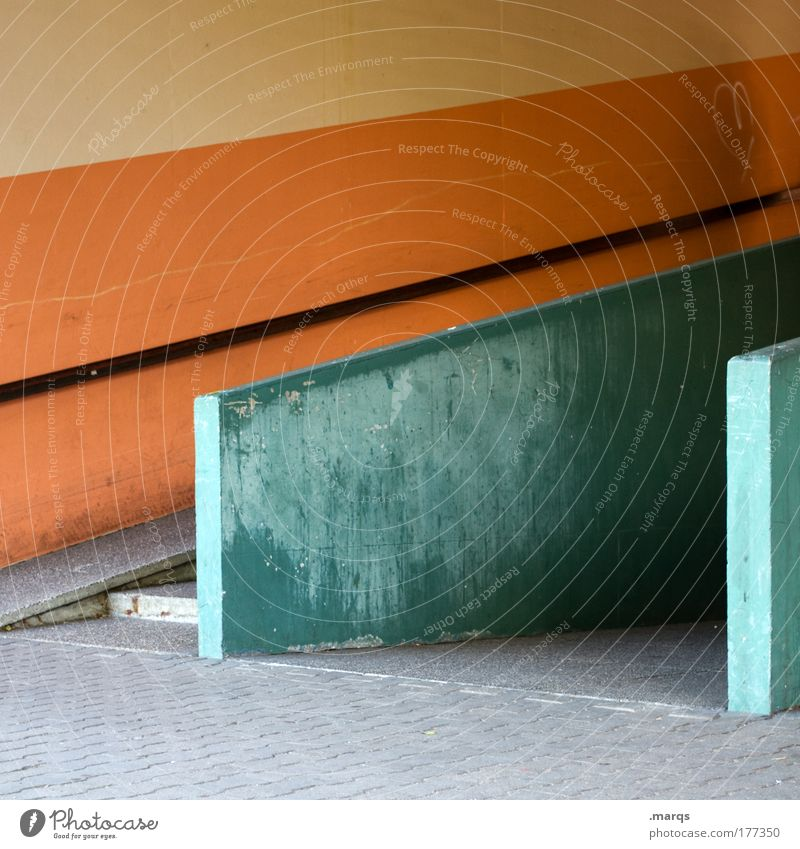 Green City Wall (building) Architecture Wall (barrier) Line Orange Facade Concrete Design Stripe Retro Uniqueness Handrail Decline Sharp-edged