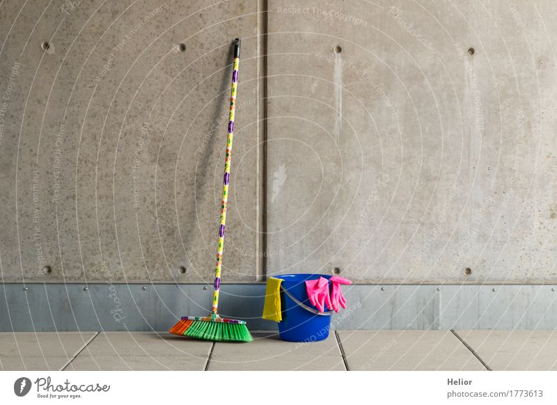Colourful cleaning utensils 9 Living or residing Broom Wall (barrier) Wall (building) Gloves Concrete Cleaning Gloomy Blue Yellow Gray Pink Bucket Plastic