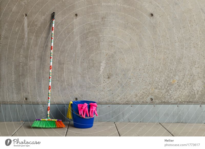 Colourful cleaning utensils 4 Flat (apartment) Broom Wall (barrier) Wall (building) Gloves Concrete Plastic Cleaning Uniqueness Gloomy Blue Multicoloured Yellow