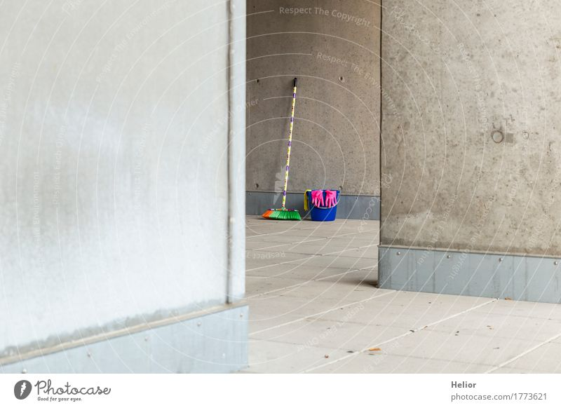 Colourful cleaning utensils 8 Broom Wall (barrier) Wall (building) Gloves Concrete Cleaning Blue Yellow Gray Pink Plastic Uniqueness Gloomy Multicoloured Black