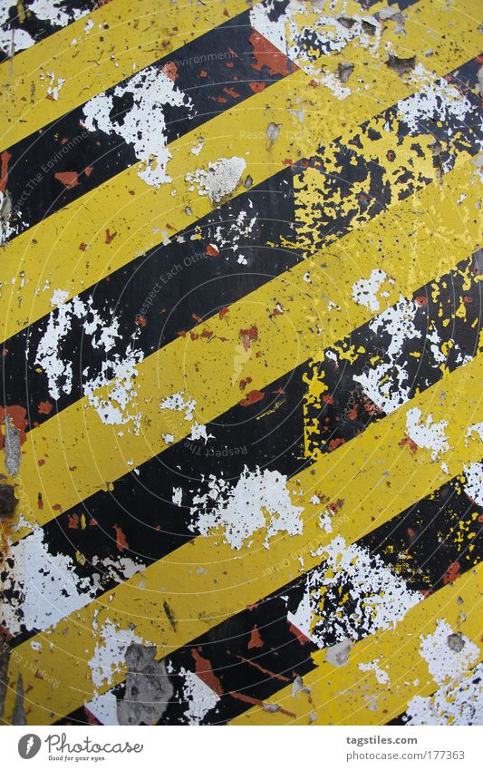Old White Black Yellow Wall (building) Wall (barrier) Background picture Design Concrete Industrial Photography Stripe Derelict Decline Trashy Broken