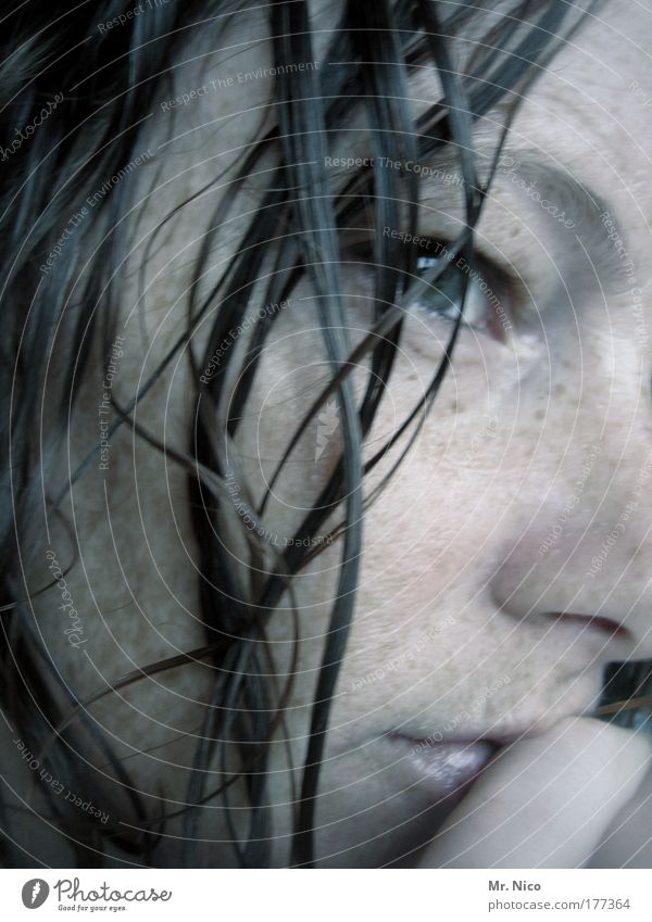 thinking Interior shot Wellness Well-being Contentment Relaxation Feminine Skin Head Face Eyes Mouth Lips Wet Meditative Freckles Thoughtless trance sexy Time