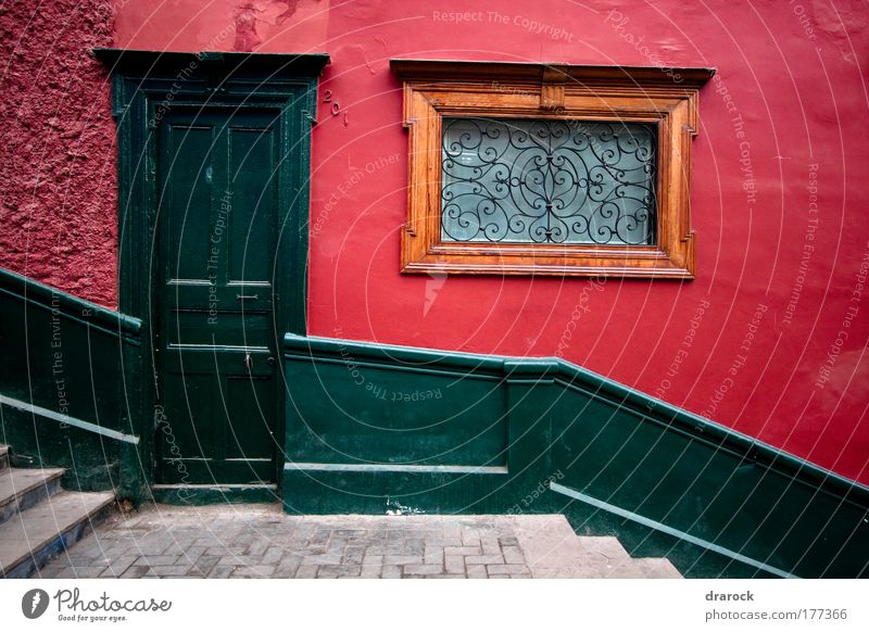 The Green Door Colour photo Exterior shot Detail Morning Central perspective Front view Lima Barranco Peru South America Old town House (Residential Structure)