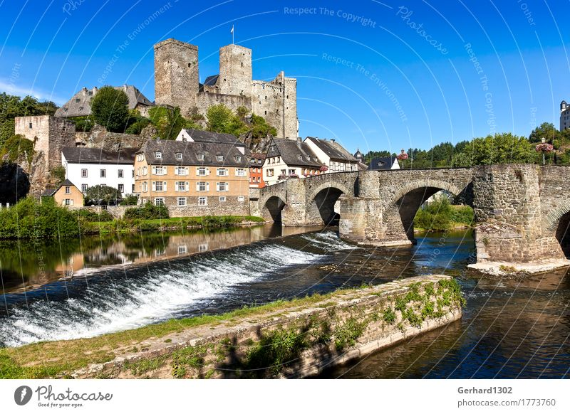 Castle Runkel an der Lahn Vacation & Travel Tourism Trip Sightseeing Summer vacation Water River Waterfall Weir Village Old town Architecture Tourist Attraction