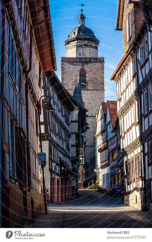 Half-timbered houses in an old town street of Alsfeld Vacation & Travel Tourism Trip Mountain Hiking Architecture Town Old town Building Tourist Attraction