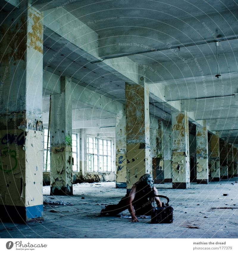 Cold Dark Wall (building) Wall (barrier) Facade Masculine Gloomy Uniqueness Factory Derelict Whimsical Column Ruin Soldier Aggression Hose