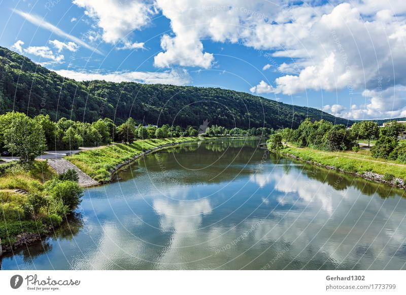 Summer atmosphere in the Altmühltal valley near Riedenburg Tourism Trip Cycling tour Summer vacation Mountain Hiking Nature Water Forest Hill River bank