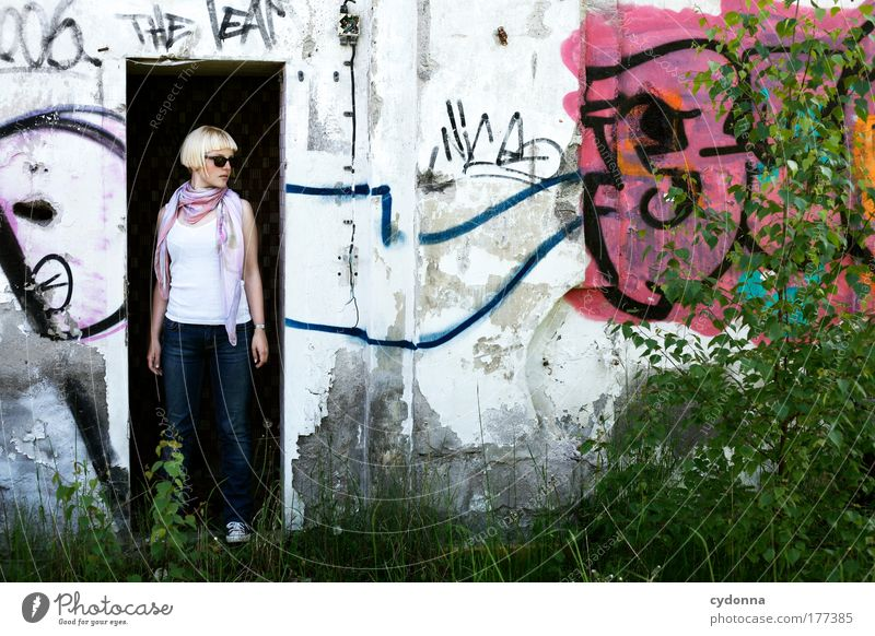 Woman Human being Nature Youth (Young adults) Beautiful Adults Life Wall (building) Environment Freedom Graffiti Style Wall (barrier) Sadness Dream Fashion