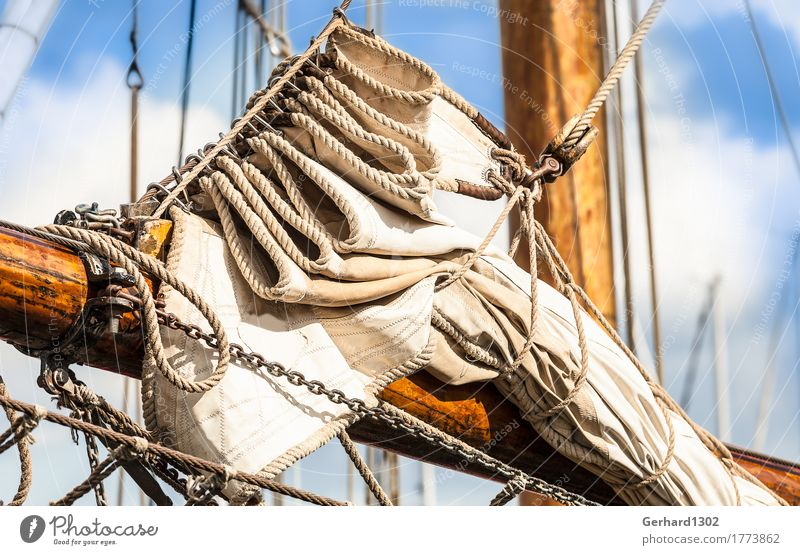 Sails on the forestay of a historic sailing ship in Kappeln Leisure and hobbies Vacation & Travel Tourism Trip Nature Water Wind Port City Harbour Navigation