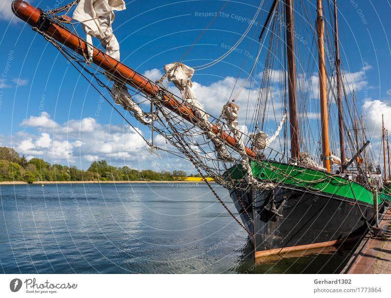 Historic sailing ship in the harbour of Kappeln Vacation & Travel Tourism Cruise Cycling tour Summer vacation Landscape Water Coast Fjord Baltic Sea Port City