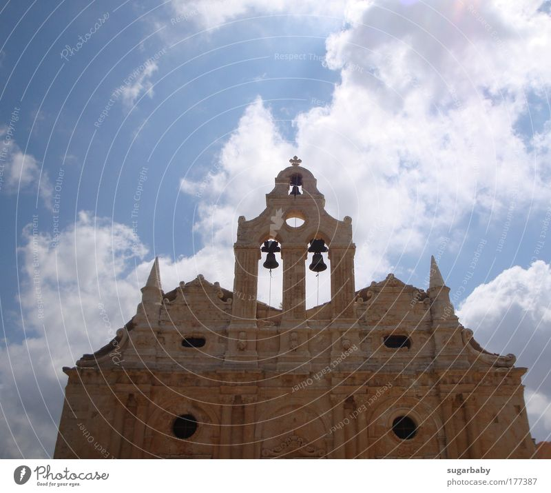 The clouds pass by... Colour photo Exterior shot Deserted Day Sunlight Worm's-eye view Culture Monument Crete Greece Europe Church Tower Manmade structures