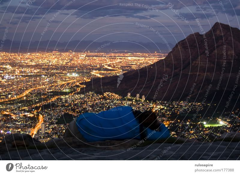 breathtaking Colour photo Exterior shot Copy Space top Evening Twilight Night Silhouette Long exposure Panorama (View) Vacation & Travel Tourism Far-off places