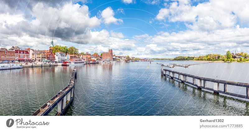 Panorama of the Schlei and the harbour in Kappeln Vacation & Travel Tourism Trip Sightseeing Summer vacation Ocean Environment Water Coast Fjord Baltic Sea Town