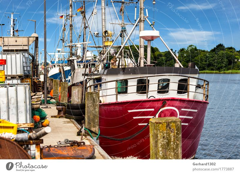 Fishing cutter at the quay in the fishing harbour in Kappeln Vacation & Travel Tourism Trip Cycling tour Summer vacation Hiking Nature Water Coast Fjord