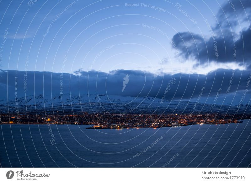 Icelandic city Akureyri at night, wintertime Vacation & Travel Tourism Adventure Far-off places Winter Winter vacation Town Downtown North Iceland clouds