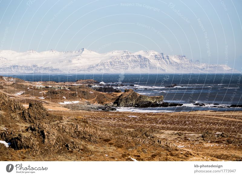East fjords in Iceland Vacation & Travel Tourism Adventure Far-off places Winter Landscape Wind Mountain Fjord Ocean east wintertime ring road street
