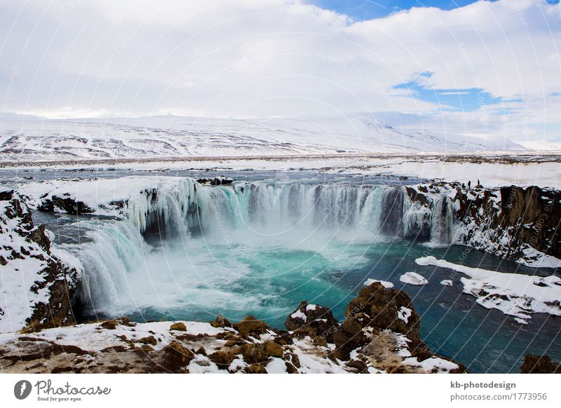 Waterfall Godafoss in wintertime in Iceland Vacation & Travel Tourism Adventure Far-off places Sightseeing Winter Winter vacation Nature waterfall: Godafoss