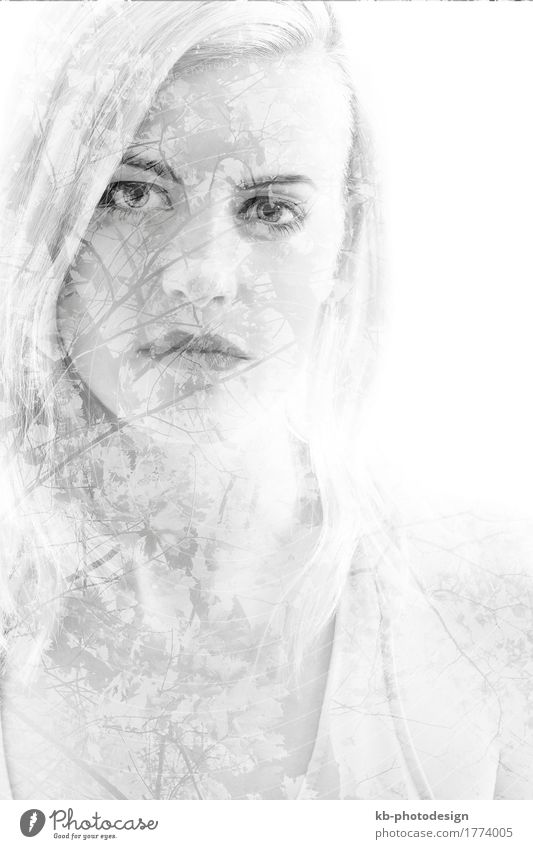 Young girl with leaves, double exposure, black and white Young woman Youth (Young adults) Woman Adults 18 - 30 years Blonde Emotions portrait pretty