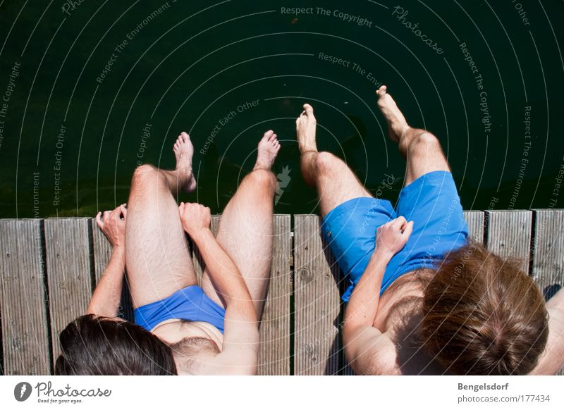 Human being Youth (Young adults) Water Vacation & Travel Sun Summer Calm Far-off places Relaxation Life Movement Jump Lake Swimming & Bathing Sit Tall