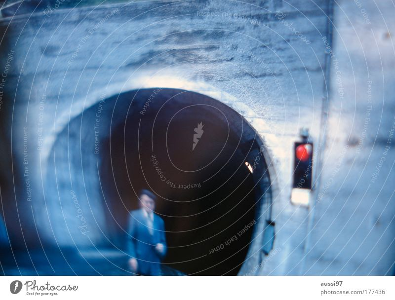 Old Red Loneliness Senior citizen Stop Hat Tunnel Traffic light Family & Relations Gentleman Stick Walking stick