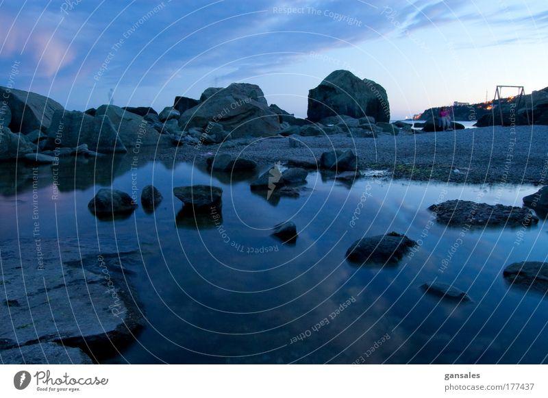 sundown on the sea Nature Water Blue Clouds Stone Landscape Coast Night sky Infinity Beautiful weather Sail Cruise