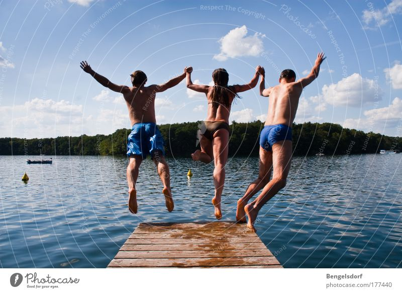 Human being Joy Youth (Young adults) Water Sun Vacation & Travel Summer Far-off places Life Freedom Lake Couple Friendship Leisure and hobbies Swimming & Bathing Trip