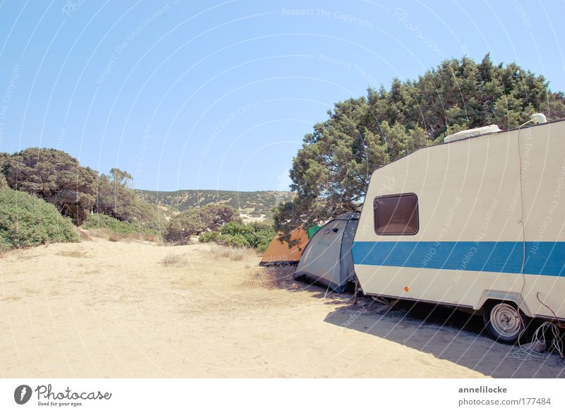 camping nostalgica Colour photo Exterior shot Deserted Copy Space top Copy Space bottom Day Long shot Leisure and hobbies Vacation & Travel Tourism Trip
