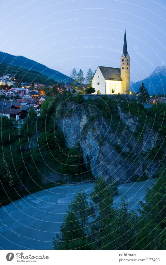 Church Scuol Colour photo Exterior shot Copy Space bottom Copy Space middle Evening Twilight Night Central perspective Long shot Nature Landscape Village
