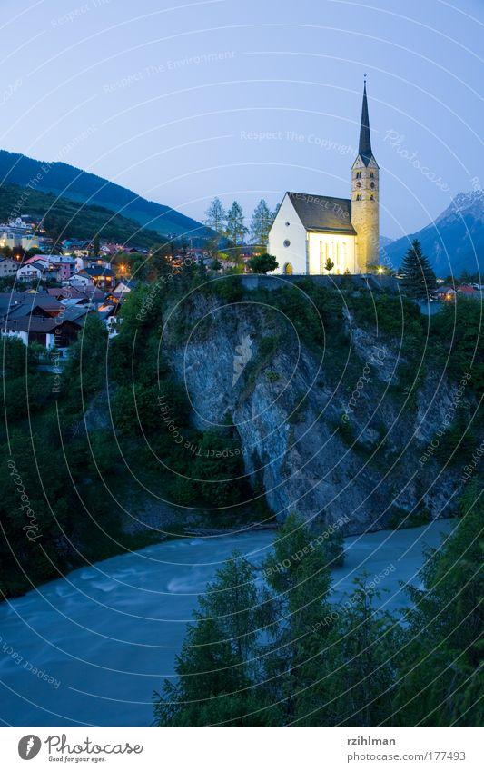 Nature Sky Landscape Religion and faith Architecture Church River Village Canton Graubünden Engadine
