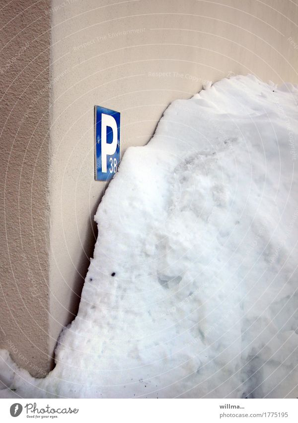Winter Cold Wall (building) Snow Wall (barrier) Parking lot Parking space number Parking sign Pile of snow